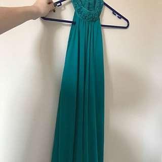 High Neck Open Back Green Dress