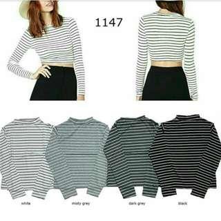 Kode : 1147 Stripe Grey Cropte.  Bahan :spandek PE.  LD:76-80 Cm.   PJ:45 Cm