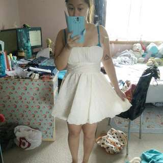 White Puffy Strapless Dress