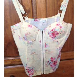 Yellow floral size 14 Valleygirl zip front bustier