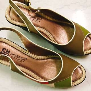 拼接復古粗跟鞋
