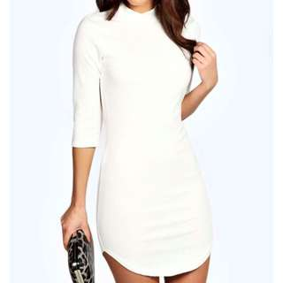 Boohoo Curved Hem Dress