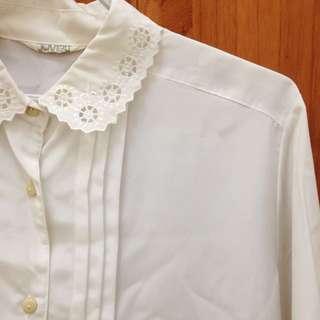 morningdeer 晨鹿古著白色雪紡長袖襯衫