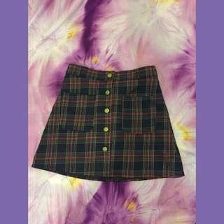 Plaid Button Down Skirt