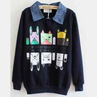 Printed Sweater With Denim Collar