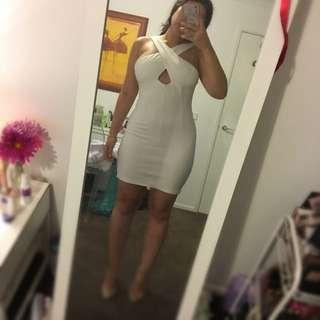Mossman White Mini Dress With Cut Out Size8