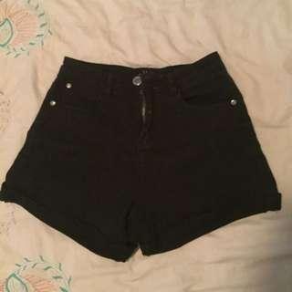 Ally High Waisted Black Shorts