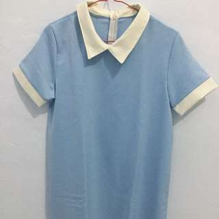 Collar Dress Baby Blue