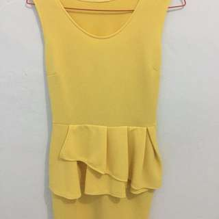 Peplum Yellow Dress