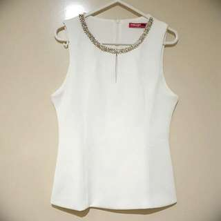 Valleygirl White Diamante Top