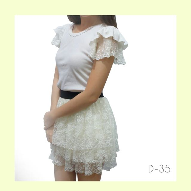 1 Set - White Cute Dress