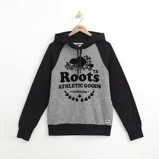 Roots當季 官網已售完 OVERSIZED AG 撞色拼接連帽T 灰胡椒拼接黑袖