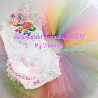 Pastel Unicorn Theme Tutu Skirt & Romper Set