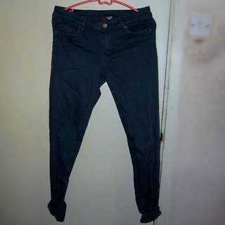 H&M 湖藍色skinny長褲
