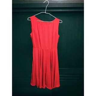大紅 連身洋裝