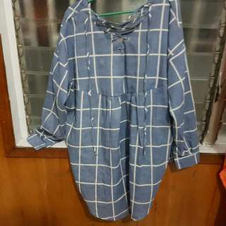 Blue Checkered Dress/blouse