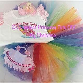 Rainbow Care Bear Theme Tutu Skirt & Tee Set