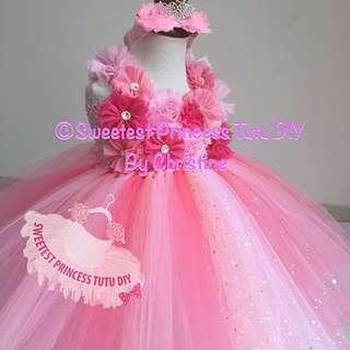 Pink Corel Flowers Tutu Dress