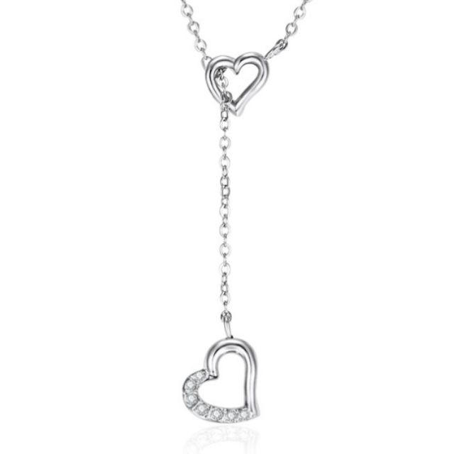 2 Hearts Pendant Set Ft Swarovski Elements Heart Crystals Adjustable Chain
