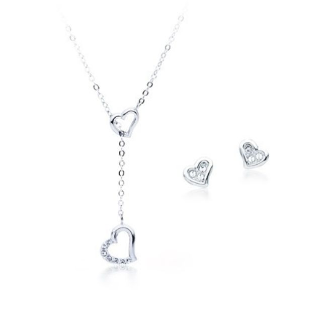 925 Silver 3 pc Set Ft Swarovski Elements Necklace Earrings Sterling Silver