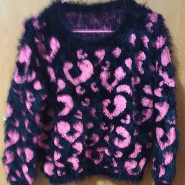 豹紋海毛毛衣