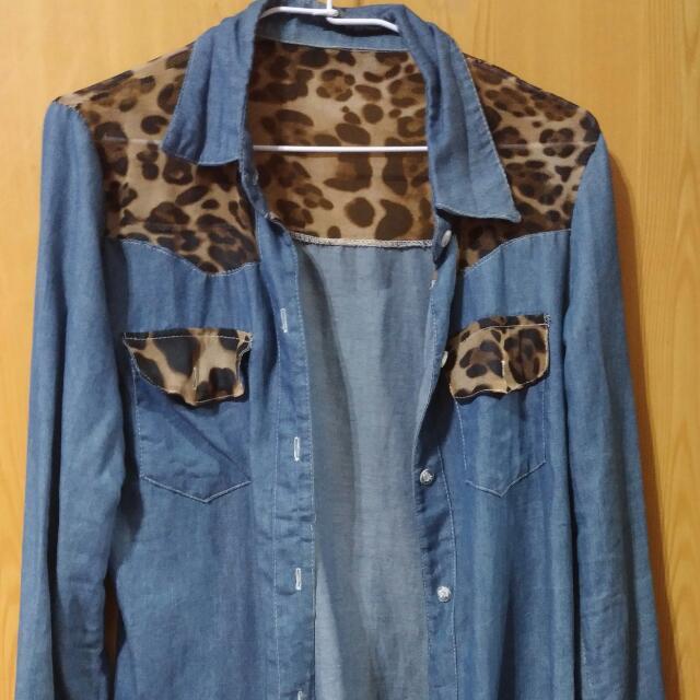 牛仔豹紋外套