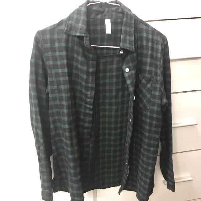 墨綠/黑格子襯衫