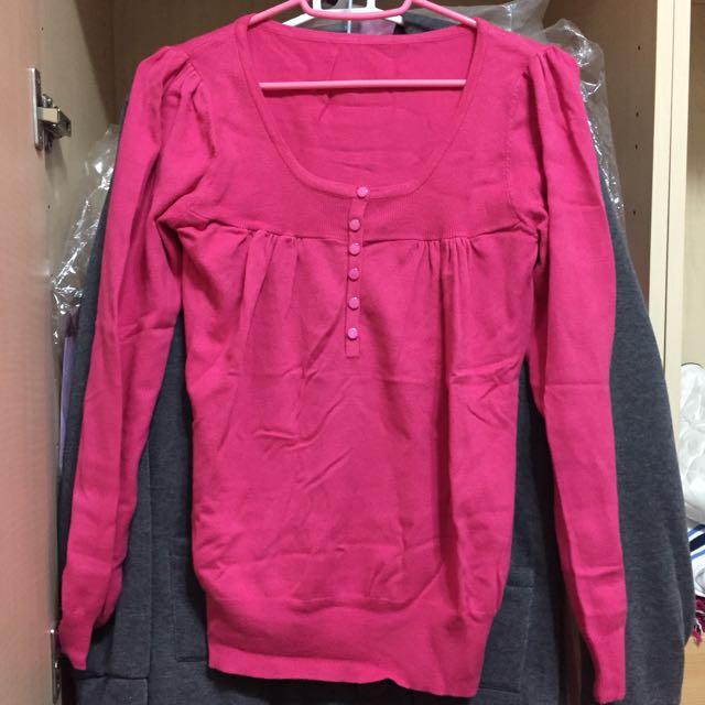 桃紅抓皺針織長袖上衣