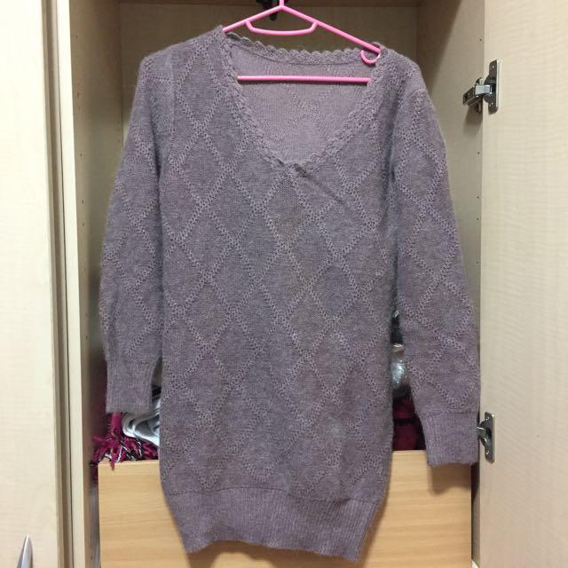 長版針織毛衣 可可色 咖啡色