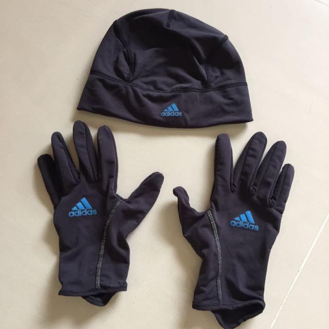 adidas climalite 自行車/跑步 帽子手套組