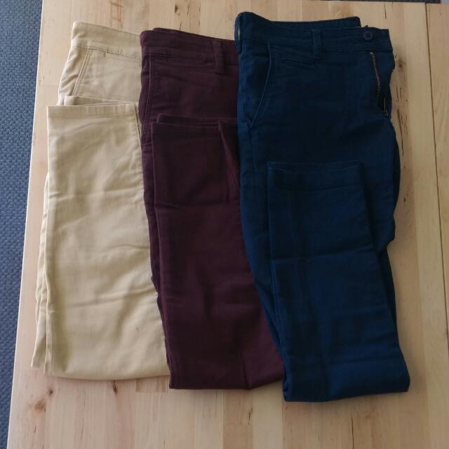 Asos Chinos 30/30 Navy Maroon And Yellow| Skinny Fit | Selling 3 Pairs Together