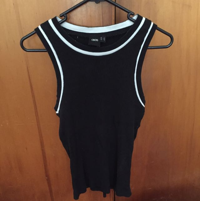 ASOS Ribbed Singlet Top Black And White