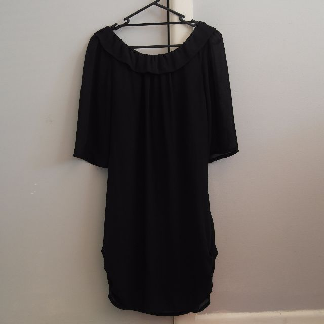 Backless Black Ruffled Dress