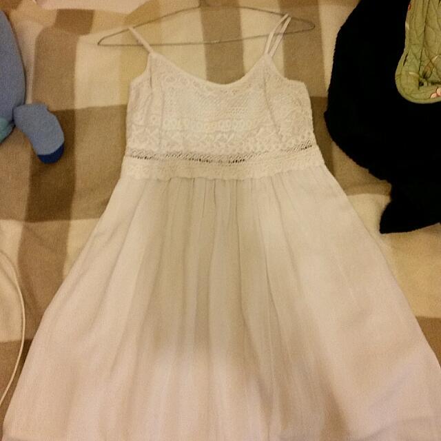 Basic White Lace/Crochet Flowy Dress