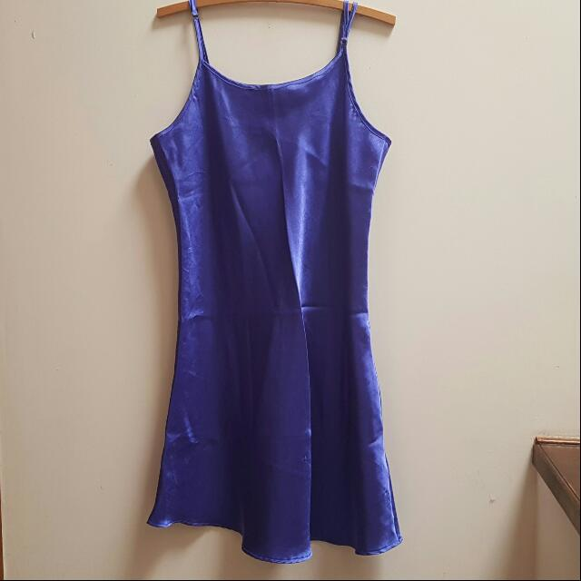Blue Satin Slip Dress