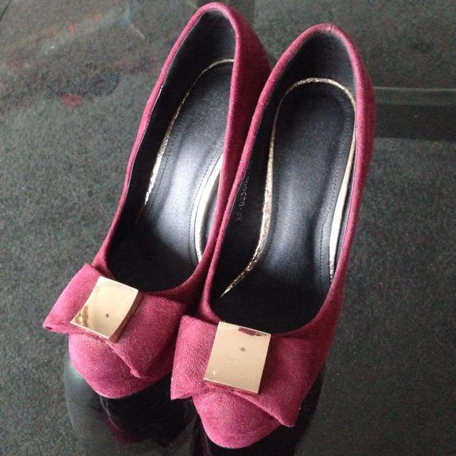 Claret Suedette Heels