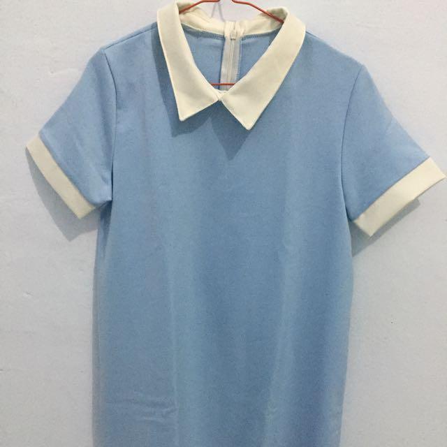 Collar Dress Baby Blue