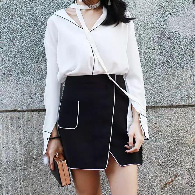 Contrast Overlap Skirt