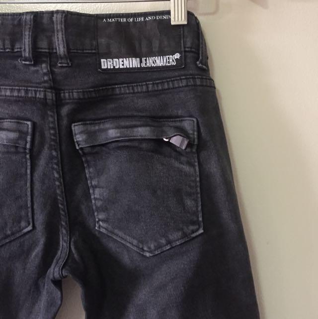 DR DENIM Black jeans With Zipper Detail