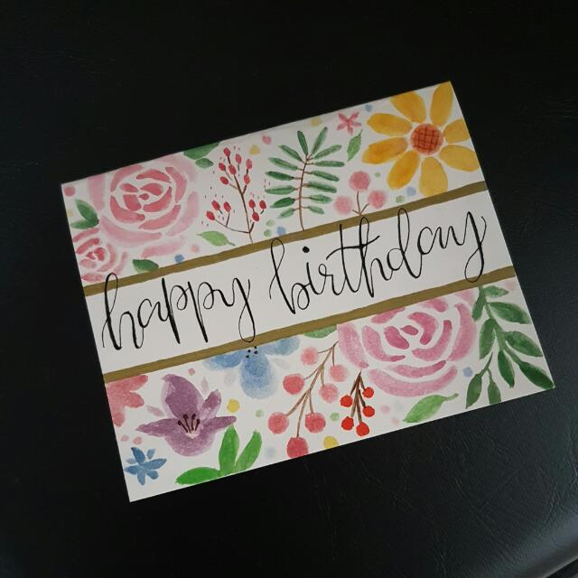 Floral Watercolor Hand Painted Birthday Card Design Craft Art