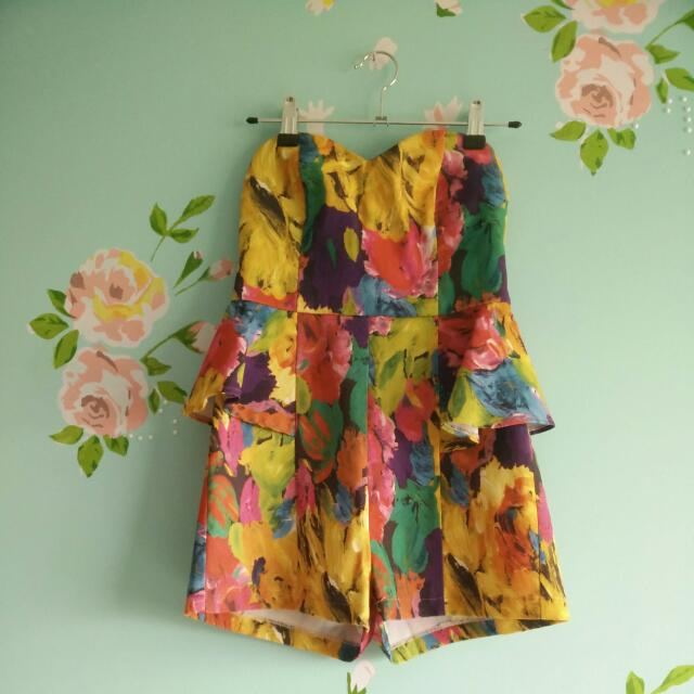 Floral Playsuit Straps OR strapless