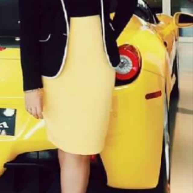 Folio | Yellow Pencil Cut Skirt