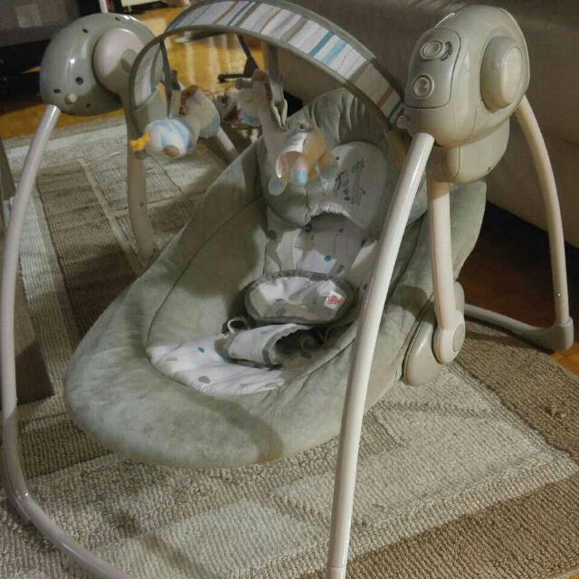 Grey And White Baby Swing