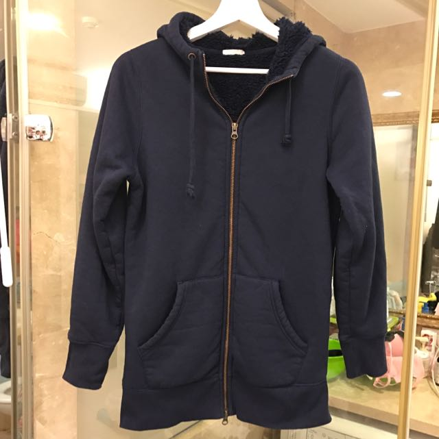 GU 深藍色長版軟綿綿連帽外套(保留)