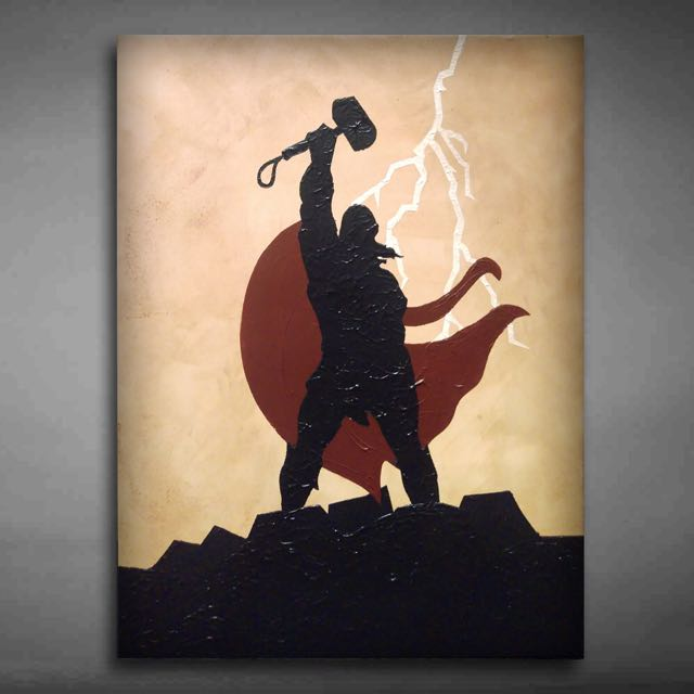Hand Painted Thor Canvas Art