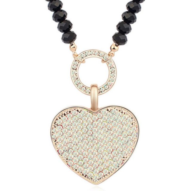 Heart Long Pendant Necklace Ft Swarovski Elements Crystals Gold