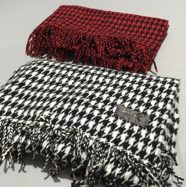🔴⚫️Jesi Lydia⚪️⚫️千鳥紋 韓國🇰🇷超保暖長型 圍巾(紅黑、白黑)韓