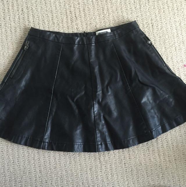 Leather Look Panelled Mini Skirt