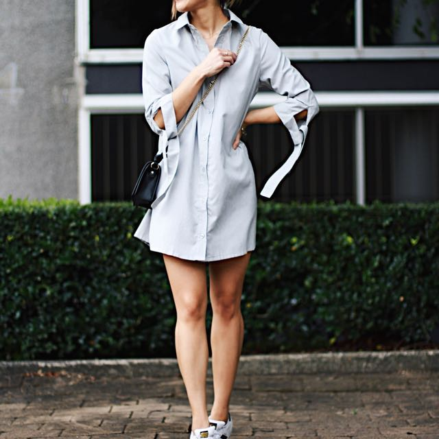 Light Blue Shirt dress With Tie Sleeve