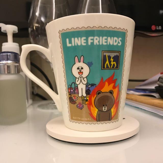 Line Friends 熊大杯杯(附蓋子、小湯匙)